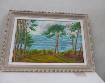 Picture framed the pines umbrellas on the seaside vintage 1950, signed B. GELOAIN, beautiful tones blue and green