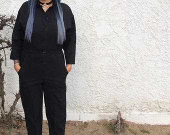Vintage Long Sleeve Jumpsuit Black Pantsuit Onsie
