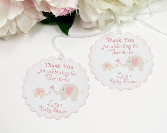 Girl baby shower favor tags, Elephant baby shower favor tags, Pink baby shower gift tags, Thank you for celebrating tags