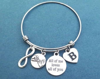 Personalized, Letter, Initial, All of me loves all of you, Pinky, Promise, Infinity, Silver, Bangle, Bacelet, Heart, Love, Gift, Jewelry