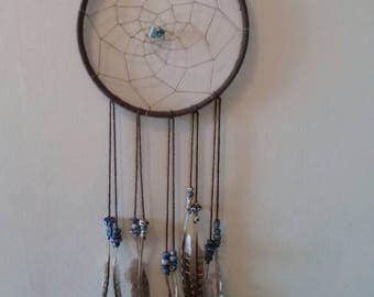 Brown Dream Catcher with blue and white accents