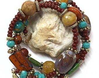 Memory Wire Bracelet - Autumn Bracelet - Rustic Bohemian Bracelet - Turquoise Wrap Bracelet - Rustic Boho Bracelet - Hippie Bracelet