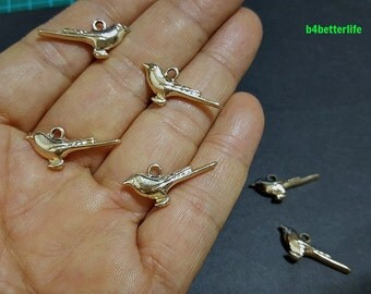 "Lot of 24pcs Double Sided ""Silverbird"" Gold Color Plated Metal Charms. #XX8a."