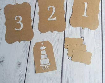 Wedding Table number tag / Place cards / DIY Wedding kraft tag - Colours - navy, pink,brown, white