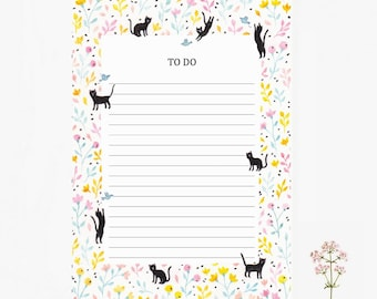 Notepad Cat, to do list, stationery, flowers, 10,3x14,8cm, cat pattern, cat lovers, paper pad, Notizblock, taccuino, little gift, christmas