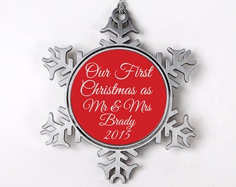 Our First Christmas as Mr & Mrs Ornament - Personalized Wedding Christmas Snowflake Ornament - Wedding Gift - Wedding Ornament