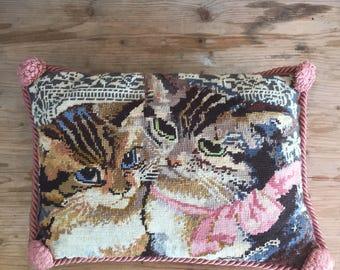 vintage pillow   design , handmade needlepoint , small cats , Home decor