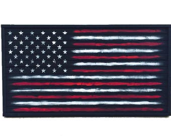 Wooden American Flag, American Wood Flag, Thin Blue Line, Thin Red Line, Wooden US Flag, Wall art, Rustic Flag, Gift for Him