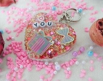 Cute Heart Shape Keychain, Sweet, Gift, Resin, Christmas