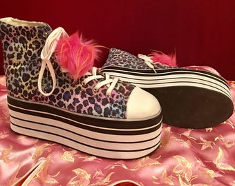 Upcycled Raved Out Platform Leopard Sneakers With Pink Fuzztastic I See You Pom Poms