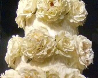Wedding Cake Flowers set of 15 white or yellow
