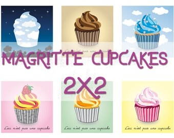 Magritte inspired clipart, 2x2 in, cupcake toppers, instant download, Ceci n'est pas une cupcake, printable stickers, scrapbook elements