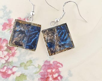mosaic stained glass earrings, sapphire blue and blue gold van gogh mosaic glass tile, glass beads, resin