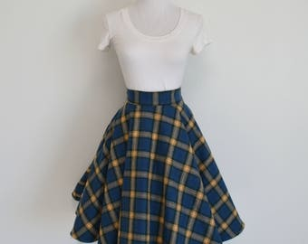 Soft Flannel Blue/Brown/Yellow Plaid Classic Homemade Circle/Swing Skirt