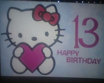 Hello Kitty Birthday card, large hello kitty card, hello kitty, teen birthday card, hello kitty card, hello kitty birthday