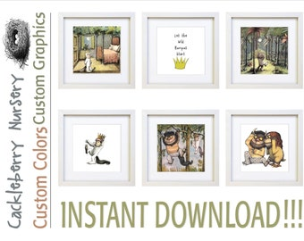 Where the Wild Things Are, Instant Download, Set of 6 Prints, New Baby, Nursery Decor, Playroom Decor, Boy Nursery, Girl Nursery