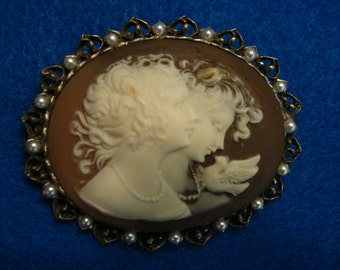 Vintage Faux Cameo with Two Female Faces and Dove Brooch