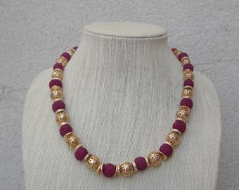 Deep Pink & Gold Fancy Necklace by Carol Dauplaise