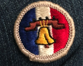 Vintage Boy Scout Merit Badge - Citizenship in the Nation - Liberty Bell Philadelphia iasip Charlie mac always sunny