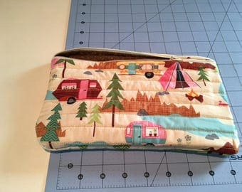 Hand made camping large zippered cosmetic/kindle/diaper/anything bag