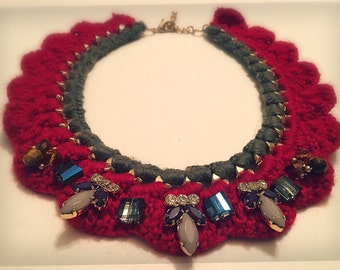 Crocheted beaded bib necklace