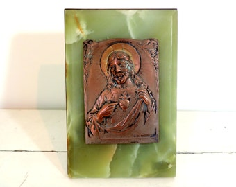 Vintage Christ Plaque/French Vintage Sacred Heart Of Jesus Standing Plaque/Vintage Jesus Plaque/Sacred Heart Of Jesus Plaque