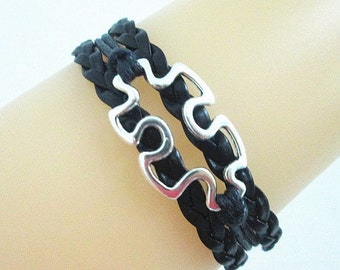 Quality Black Leather Braided Autism Puzzle Piece Bracelet