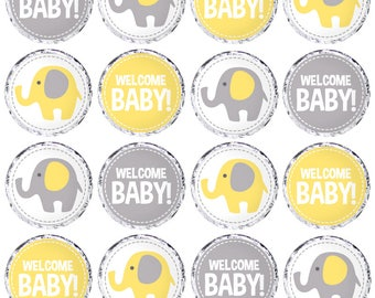 Baby Shower Candy Labels. Printable Round Stickers. Yellow and Grey Elephant 0.8 inch Circles. Round Images Collage Sheet. Kiss stickers