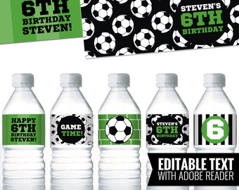 Soccer Water Bottle Labels. Boy Birthday Bottle Labels. Printable Wrappers - Wraps. Bottle Covers. Editable Kids Birthday Party Labels
