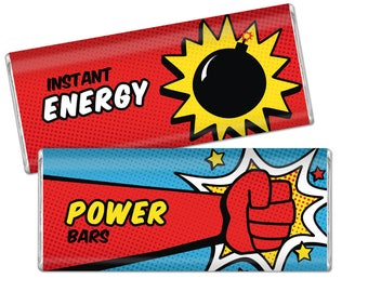 Superhero Chocolate Bar Wrappers. Baby Shower - Birthday Chocolate Bar Wraps. Printable Party favors. Comic Book Large Candy Bar Labels. DIY