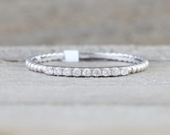 14kt White Gold Thin Diamond Ring Band Wedding Engagement Stack Dainty