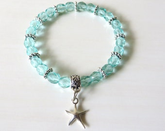 Sterling Silver Starfish Ocean Light Aqua Sea Blue Stretch Bracelet