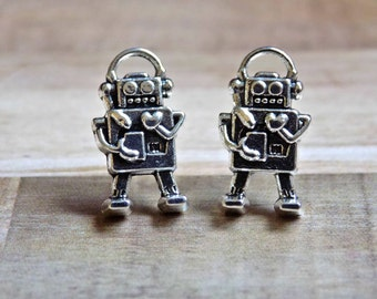 Robot Studs, Retro Robot Earrings, Robot Jewelry, Retro, Geek, Hipster Jewelry, Gifts for Her