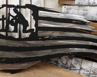 STAINLESS STEEL American flag, tattered, thin blue line, police, industrial, rustic sign, cop sign, officer, military, USMC, police sign
