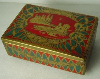 Art Deco tin box Lady in boat at moonshine