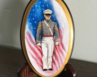 Custom Hand Painted Cadet now comes with a beautiful wood easel for display