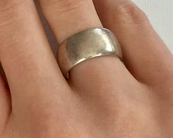 SALE! Vintage Sterling Silver Wide Band Ring Size 6.5