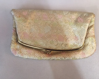 1960s // SR THOMAS // Pink & Gold Fold Over Clutch