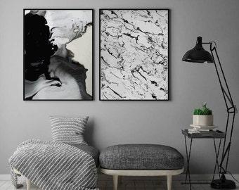 2 x Marble Vein Print Posters Home Decor Interior Design Art
