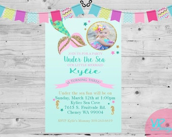 Little Mermaid, Mermaid Tail, With Picture, Birthday Invitation, Digital File, DIY Printing