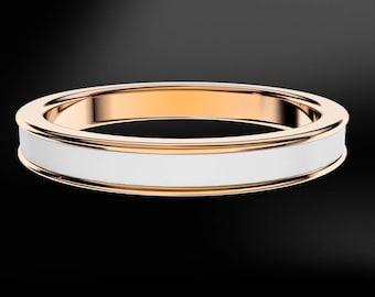 White, Sand, Turquoise, Blue, Black Enamel Rose Gold Ring
