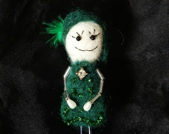 Needle felted brooch green doll