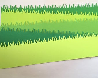 "Set of 10 Grass Border die cuts 8,5"" x 2"""