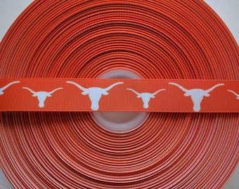 """TEXAS LONGHORNS 7/8"""" Grosgrain Hair Bow Craft Ribbon 3353"""