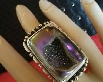 Heavy .925 Sterling and Drusy Quartz ring size 8