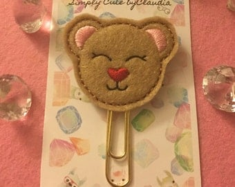 kutie Bear with Red Heart Shaped Nose Planner Clip Paperclip | Planner Accessories | Planners | Paperclips | Red Nose| Heart | Red