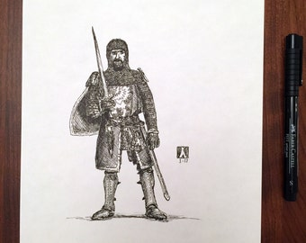 KillerBeeMoto: Sketch of a Knight Original Piece 1 of 1 8 by 10 Inches
