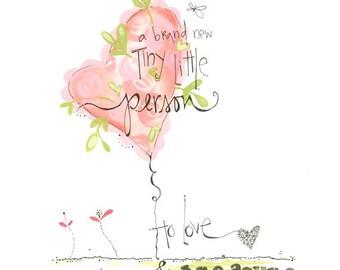 New baby girl art - Nursery room art painting - Newborn art - Little girls art - Nursery room decor - Baby shower gift - Baby flower art