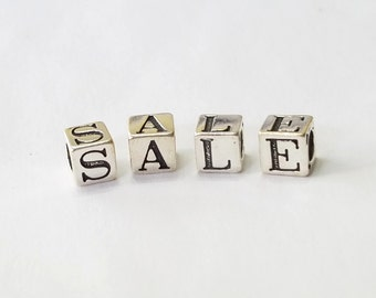 Sterling Silver, Alphabet, Letter, LETTER X, Bead, Alpha, Clearance, Sale, Jewelry, Beading, Supply, Supplies