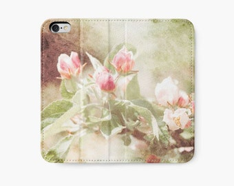 Pink Flower iPhone Wallet, Floral iPhone Case, Apple Blossom Photography